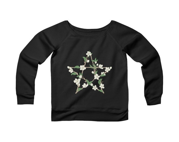 Floral Pentagram - Wide Neck -Off The Shoulder- Sweatshirt