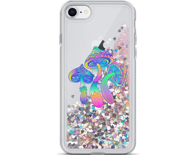 Psychedelic Magic Mushrooms Trio Liquid Glitter iPhone Cases ( Choice of Pink, Silver or Gold Glitter )