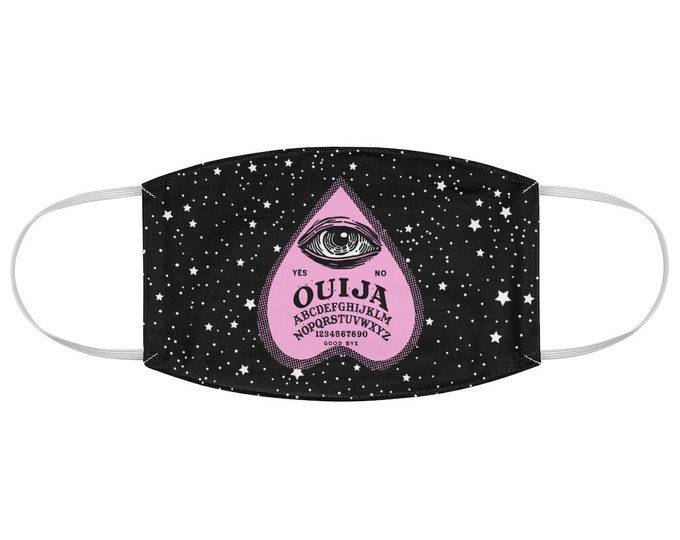 Pink Ouija Planchette Fabric Face Mask, Pastel Goth, Witchy, Esoteric, occult