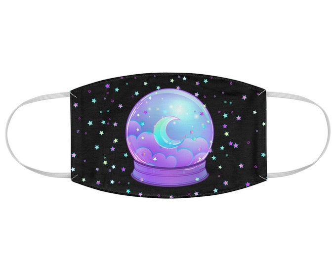 Pastel Goth Celestial Crystal Ball Fabric Face Mask in Black