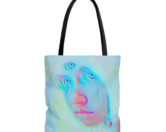 The Light Worker, Pastel Neon Reusable Shoulder Tote Bag, Pastel Goth, Low Brow Art
