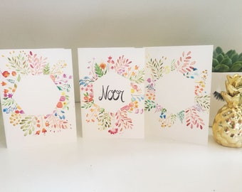 Watercolour flower cards (Personalised)