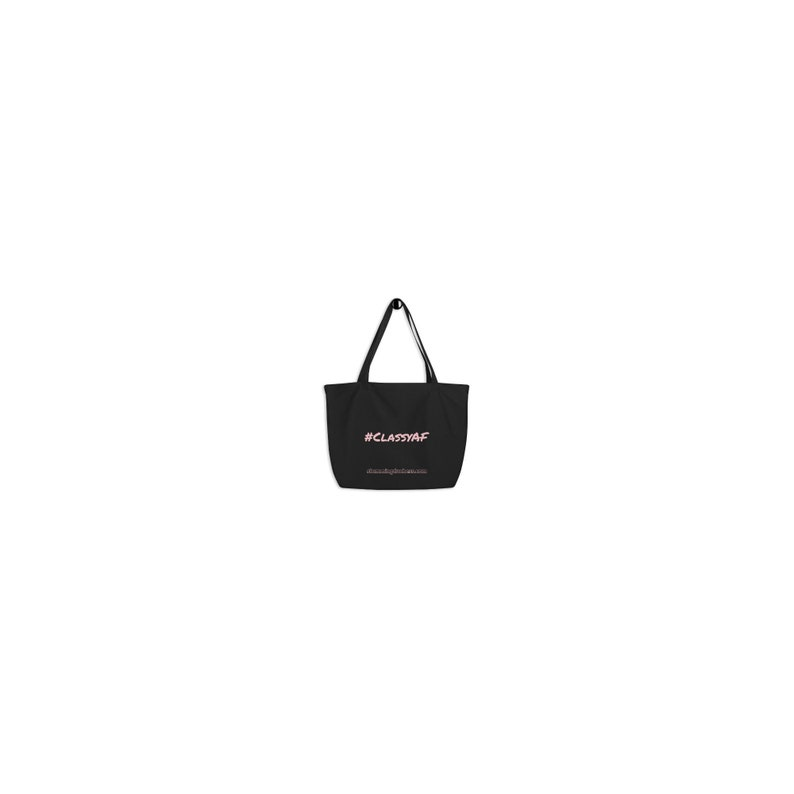 ClassyAF Large Black organic tote bag w solid back