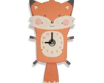 Fox Pendulum Clock - Woodland Nursery Decor, Kids Clock, Woodland Animals, Kids Room Decor, Baby Shower Gift, Mountain Adventure Cabin Decor