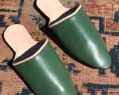 18th Century Regency Era Reproduction Handmade Heeled Mules Men 39 s Green Leather Shoes