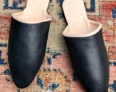 18th Century Regency Era Reproduction Handmade Heeled Mules Men 39 s Black Leather Shoes