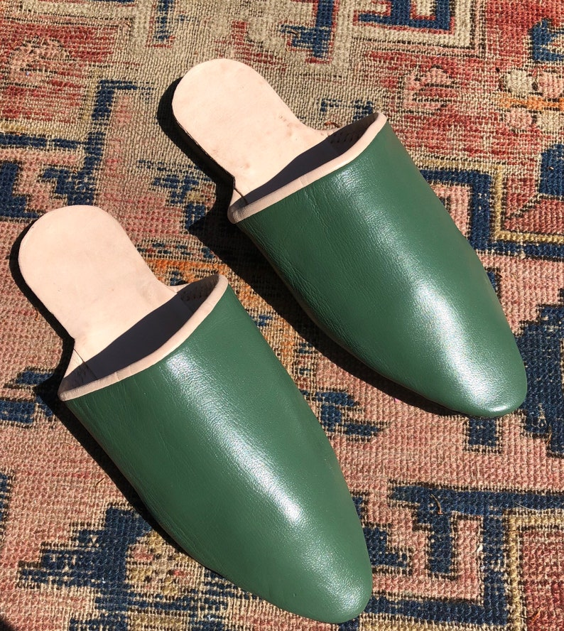 18th Century & Regency Era Reproduction Handmade Heeled Mules Men's Green  Leather Shoes