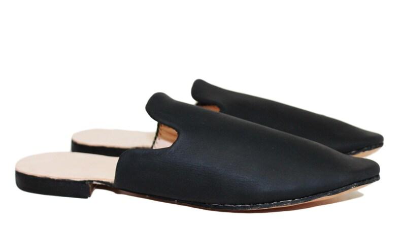 18th Century & Regency Era Reproduction Handmade Heeled Mules Men's Black  Leather Shoes