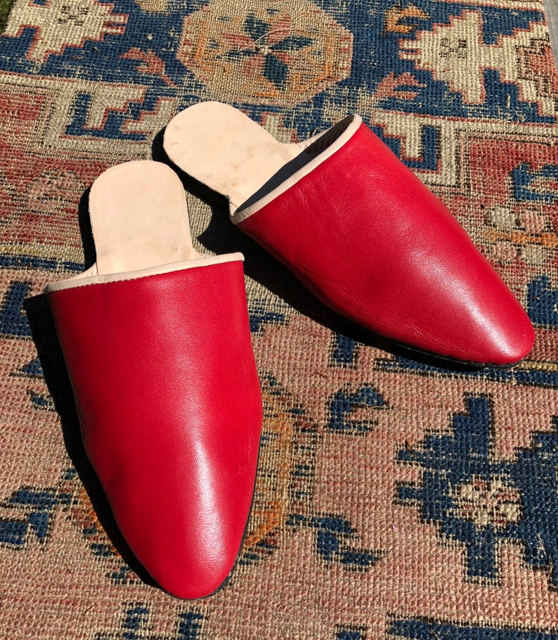 18th Century & Regency Era Reproduction Handmade Heeled Mules Women's Red  Leather Shoes