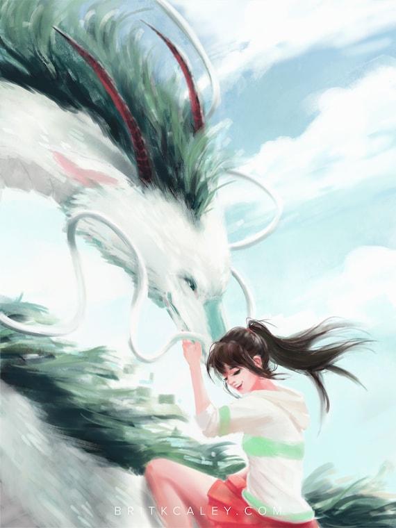 Spirited Away Studio Ghibli Haku And Chihiro Fanart Etsy