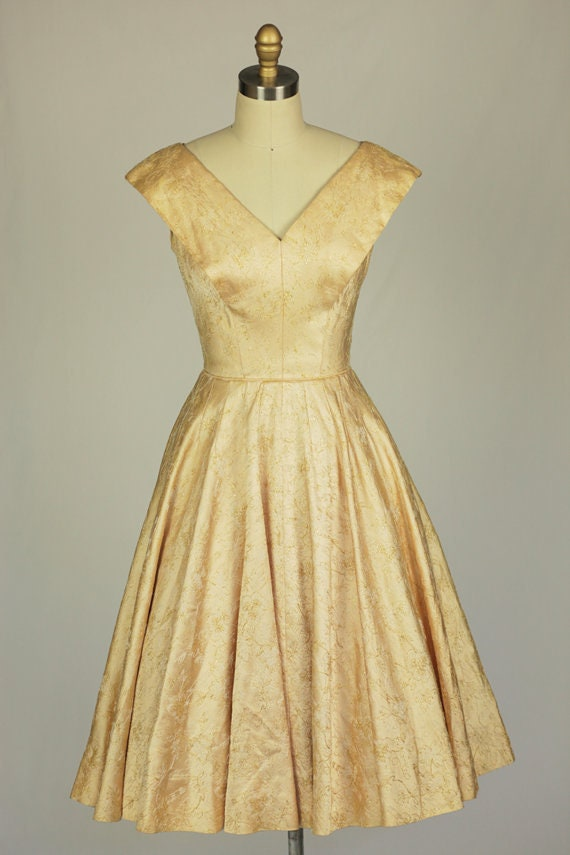 1950s champagne gold embroidered satin dress