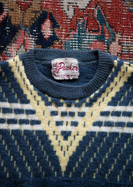 Vintage 40s 1940s Wool Sweater - Cropped Petite Ju