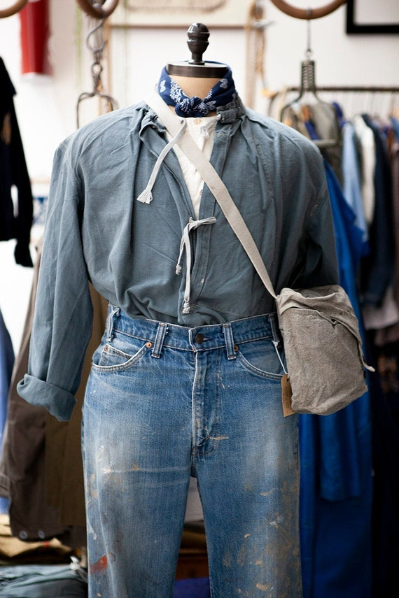 1940's Workwear Smock - Rugged Popover Work Shirt