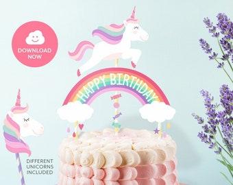 HAPPY BIRTHDAY Cake Topper Printable Unicorn Happy Birthday Rainbow Centerpiece Pink Instant Download