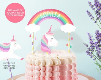 Personalized UNICORN PARTY Cake Topper Printable Unicorn Rainbow Centerpiece Baby Shower Birthday PDF File