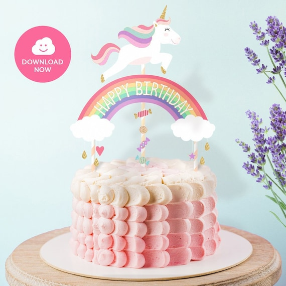 Happy Birthday Topper Printable Unicorn Cake Topper Pastel Colors