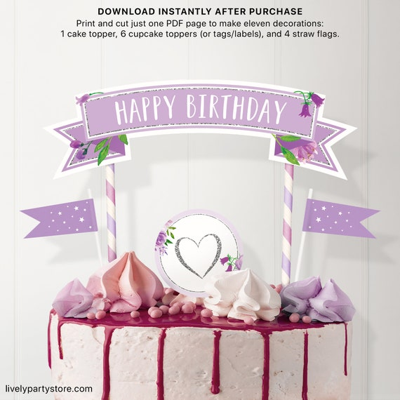 Happy Birthday Silver And Purple Party Decorations Printable Centerpiece Cake Topper Cupcake Toppers And Mini Flags Sst1801 By Lively Party Store Catch My Party