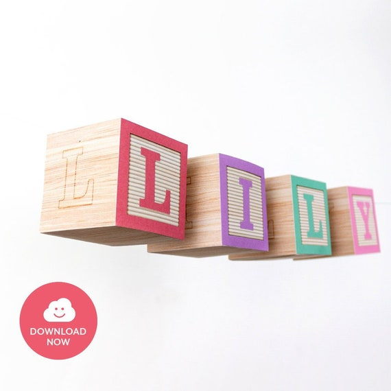 High Chair Banner Name Blocks Garland 3d Wooden Style Printable
