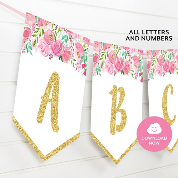 Pink Floral And Gold Printable Alphabet Banner All Letters