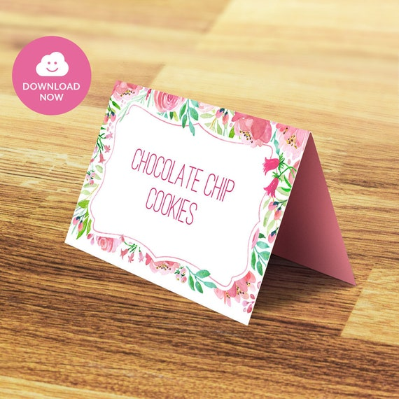 pink floral editable table tent cards pink printable folding cards