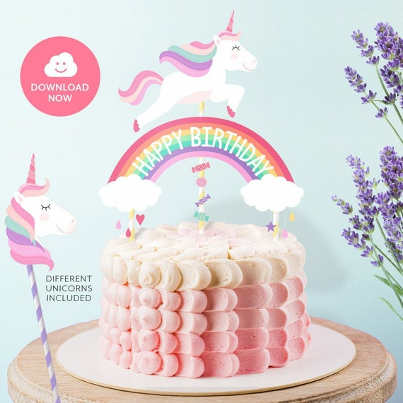 HAPPY BIRTHDAY Cake Topper Printable Unicorn