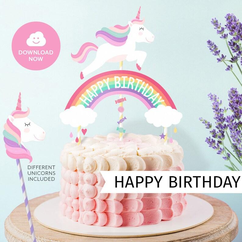 Happy Birthday UNICORN Cake Topper Printable Unicorn