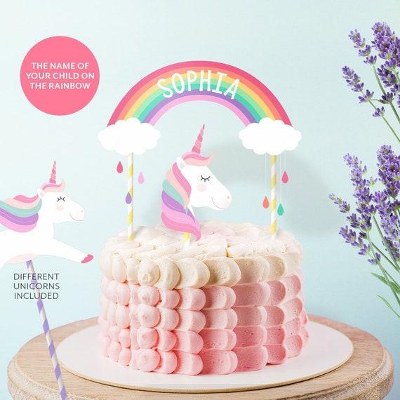 Personalized Unicorn Party Cake Topper Printable Unicorn Cake Etsy