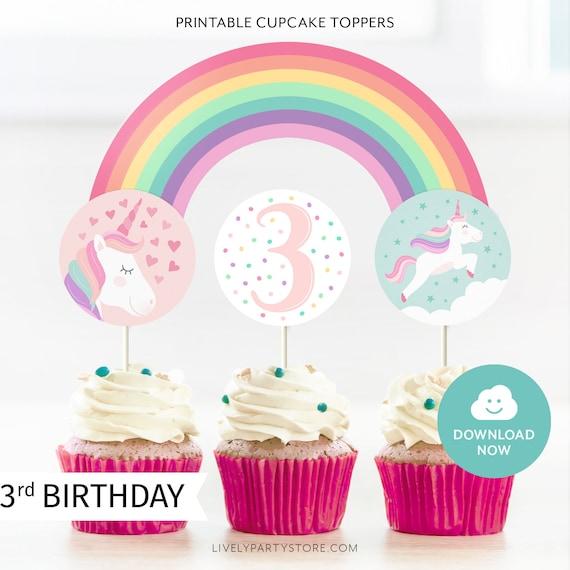 Unicorn 3rd Birthday Cupcake Topper Rainbow Third Birthday Topper