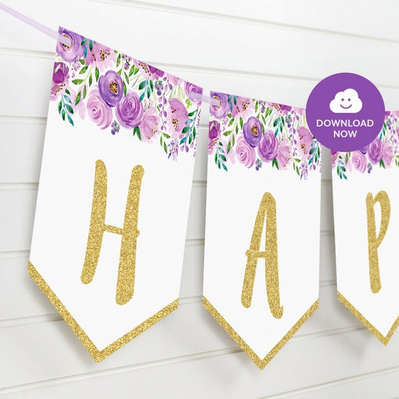 Violet Floral Happy Birthday Banner Violet And Gold Printable Bunting Banner Purple Banner Violet Floral Watercolor Boho Party Bunting By Lively Party Store Catch My Party