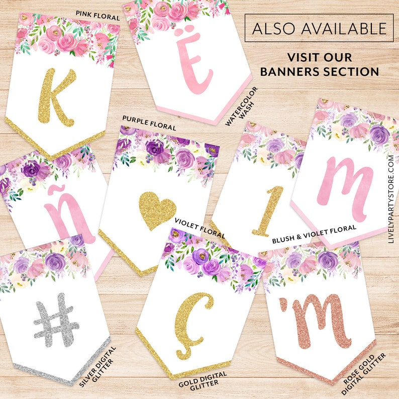 All Letters and Numbers BLUSH FLORAL and WATERCOLOR Alphabet Printable Banner Instant Download. Floral Watercolor