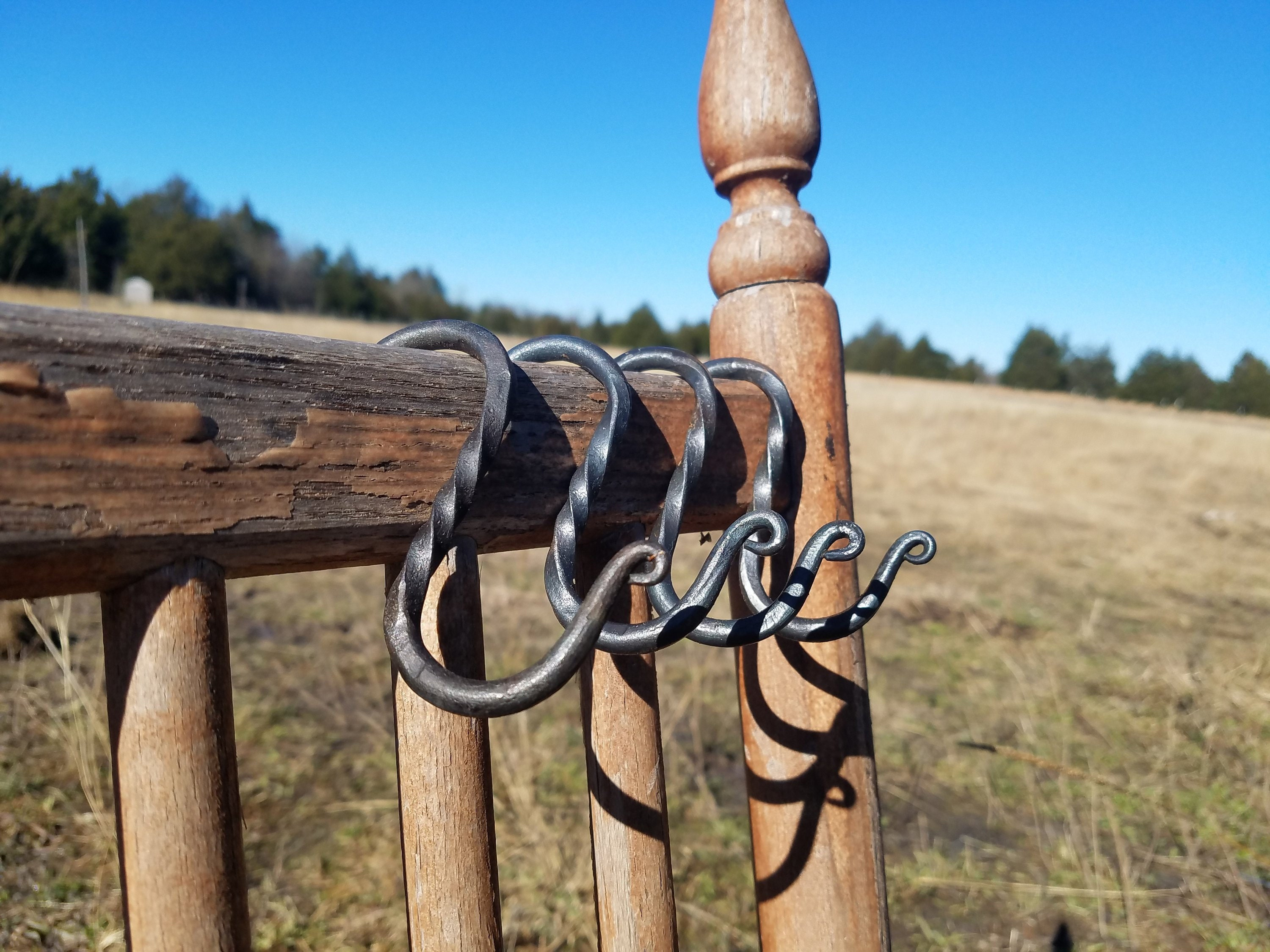 Hand Forged S Hook With Twist 3 Great For Shower Curtain Rings Pot Rack Hooks Hanging Plants Reenactment Camping Gear