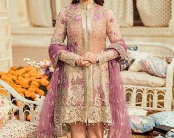 5cd9937d28d Pakistani Indian dress salwar kameez embroidered custom stitched kurti shirt  trouser Bengali Eid fancy party desi peplum outfit 3 Piece suit