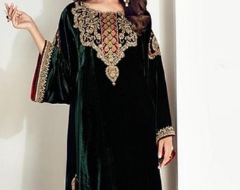 Pakistani shalwar kameez Blue Velvet 3pc suit Net Dupatta Fully Stitched EID