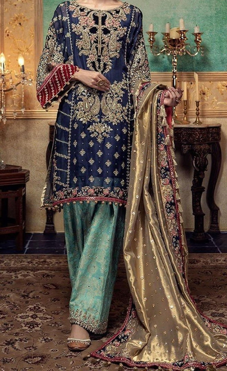 Stitched Shalwar Kameez Salwar Indian Pakistani Embroidered Linen Trouser Suit
