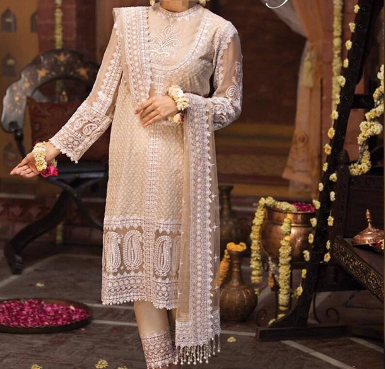 Pakistani Fancy Shalwar Kameez Free P/&P Indian Stitched Chiffon Party wear