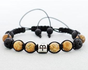 Cord Tie Bracelet Aries Zodiac Jewelry Lava Mens Birthday Gifts For Men Dad Boyfriend Him