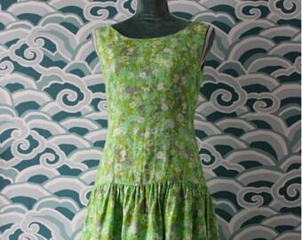 Green Floral Drop Waist Dress