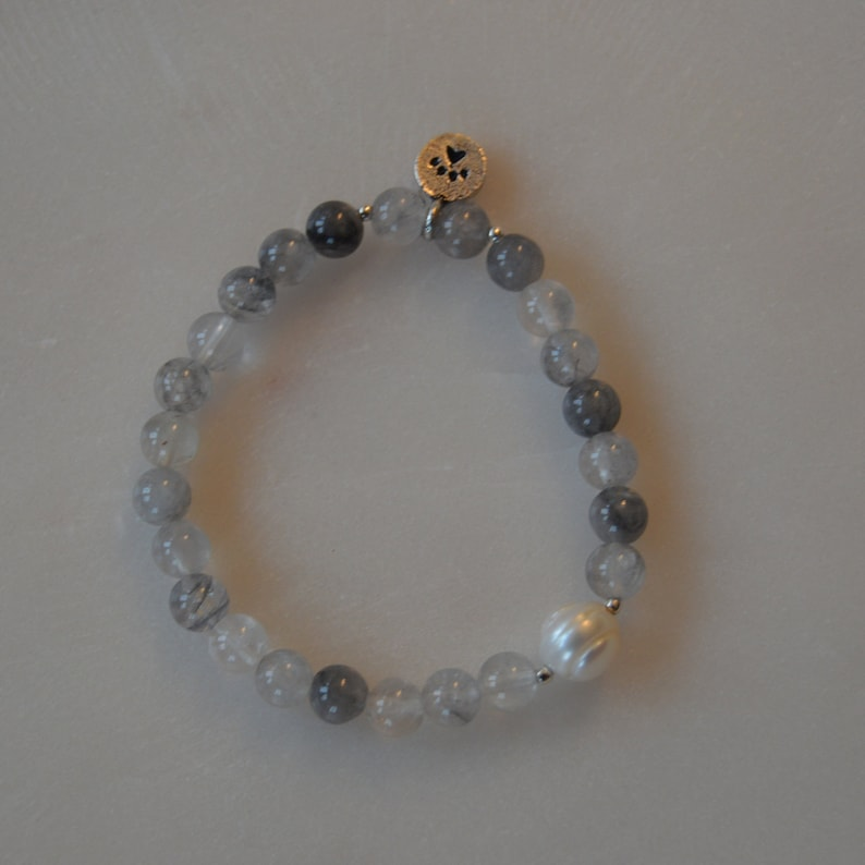 Grey Crystal 6mm Bracelet with Pearl and Sterling Silver Accents