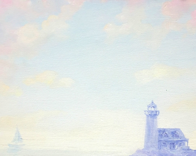 Lighthouse and Sailboat at Sunset -- Oil on Canvas