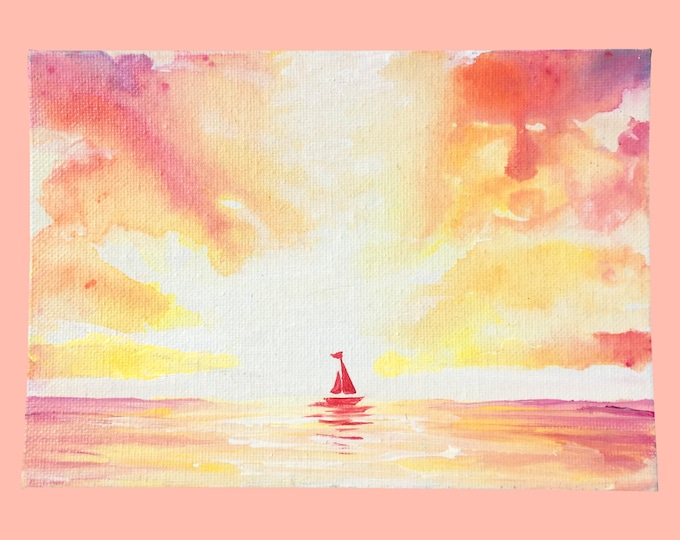 Sailboat at Sunset -- Acrylic on Canvas