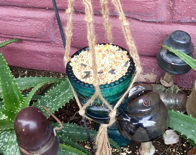 Vintage Electrical Telegraph Insulator Hemingray No 42 bird feeder or votive candle holder hand made in Joshua Tree Ca.