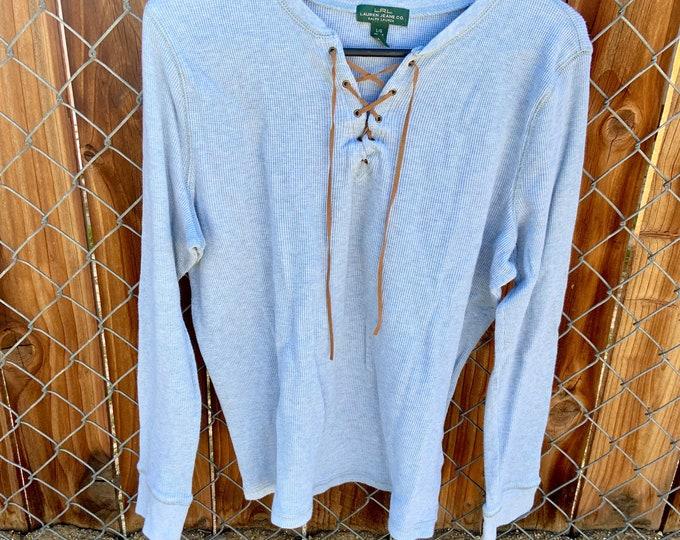Lauren by Ralph Lauren flannel shirt with leather string collar