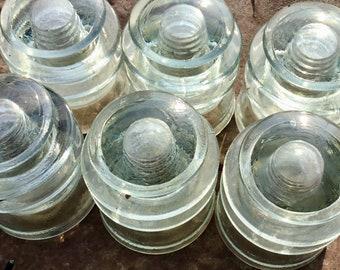 6 Vintage Kerr T.W. Glass Insulators Glass Antique Railroad Telegraph Insulators, Wholesale lot, available pre drilled. Free shipping.