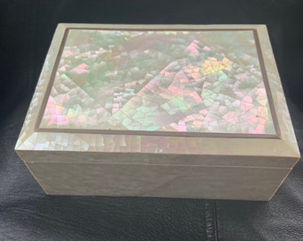 Gorgeous vintage mother of pearl jewelry and storage box  beautiful decorative box. Free Shipping