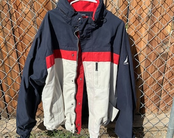 Vintage Reversable Nautical  jacket. Tri-colored, Cotton & Nylon.  Free shipping