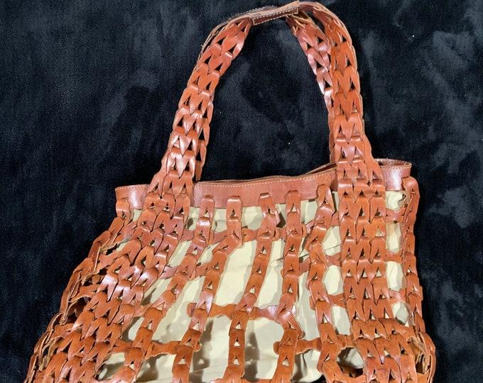Unique Woven Leather Cividini Bag- Made in Italy