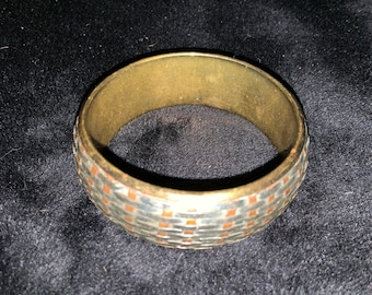 Vintage Woven Metal Bangle Bracelet