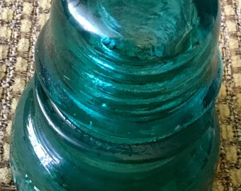 Vintage weathered Hemingray - 40 Green Glass Insulator antique railroad telegraph insulator. Free shipping