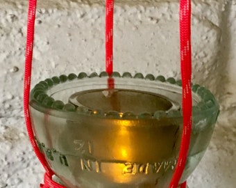 Glass Insulator  bird feeder or votive candle holder made with Hemingray No 42 vintage railroad glass insulator