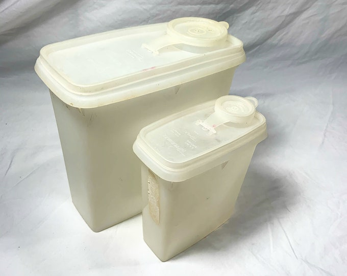 Vintage White Tupperware matching canisters. Free Shipping